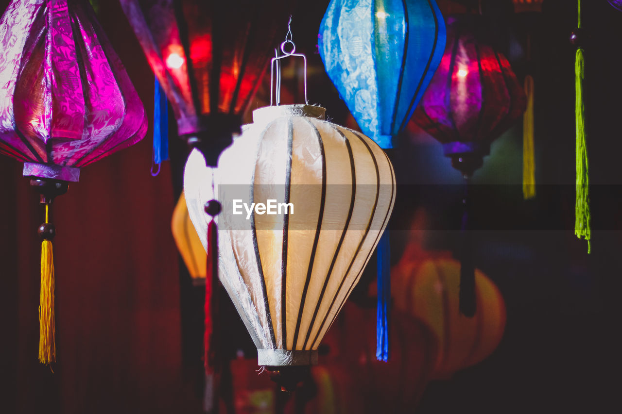 Full Frame Shot Illuminated Lanterns Hanging For Sale At Market