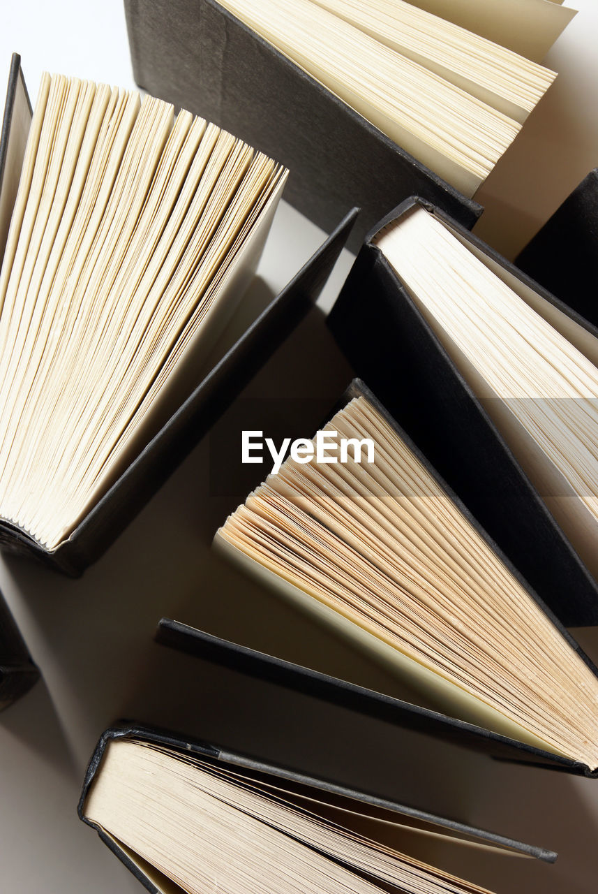 High angle view of books on table