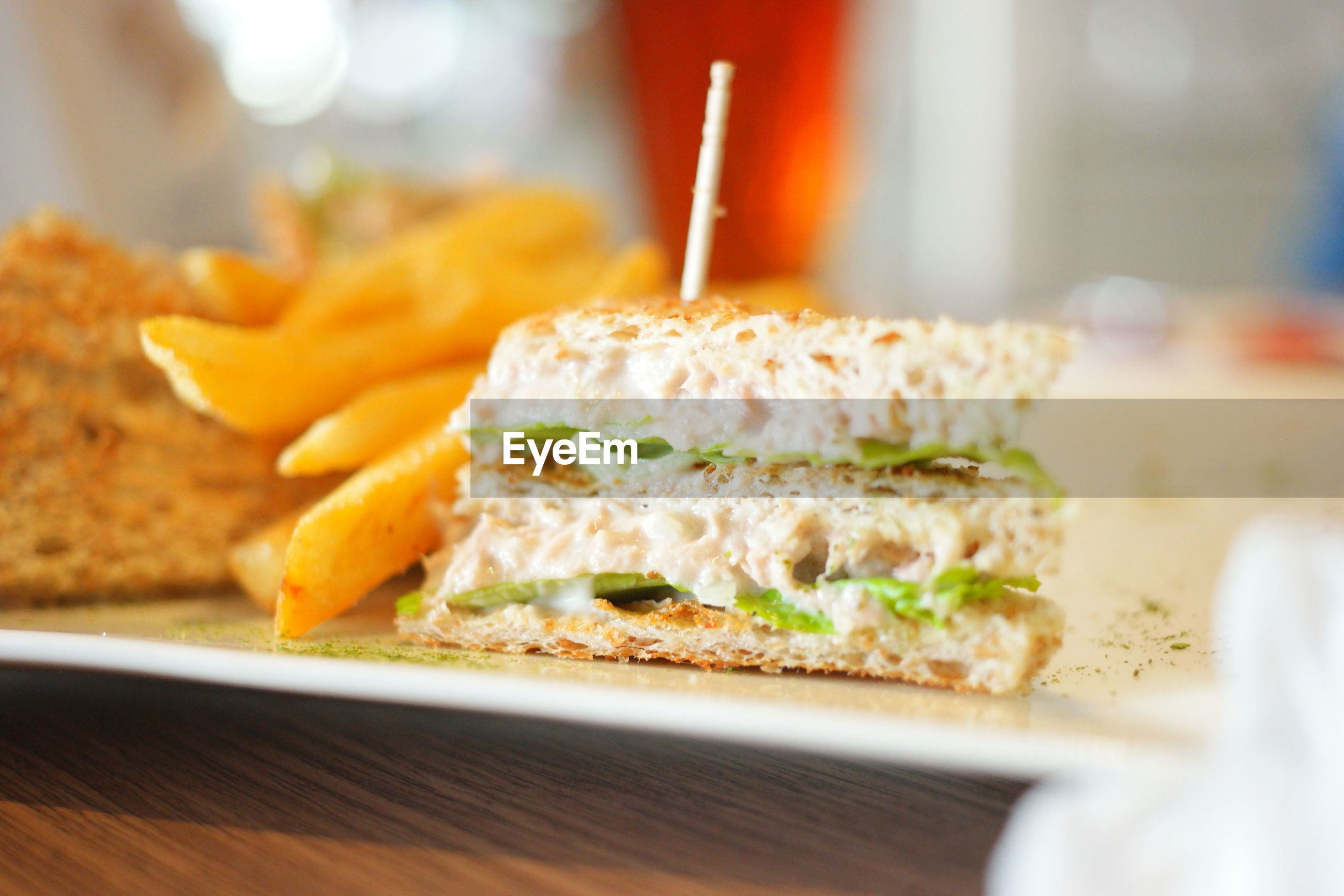 Tuna with mayonnaise and lettuce sandwich