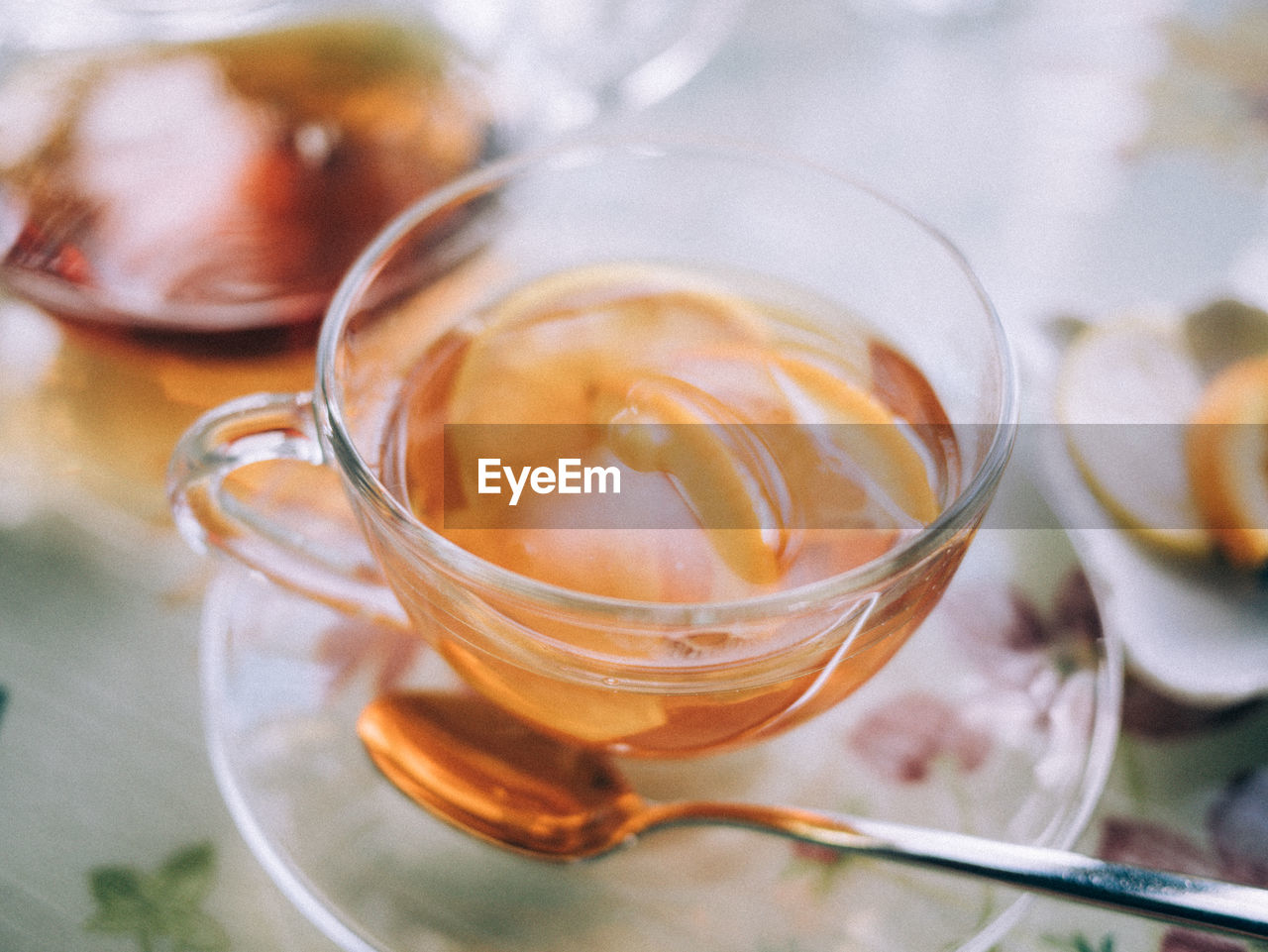 High Angle View Of Tea With Fruit Slices In Cup