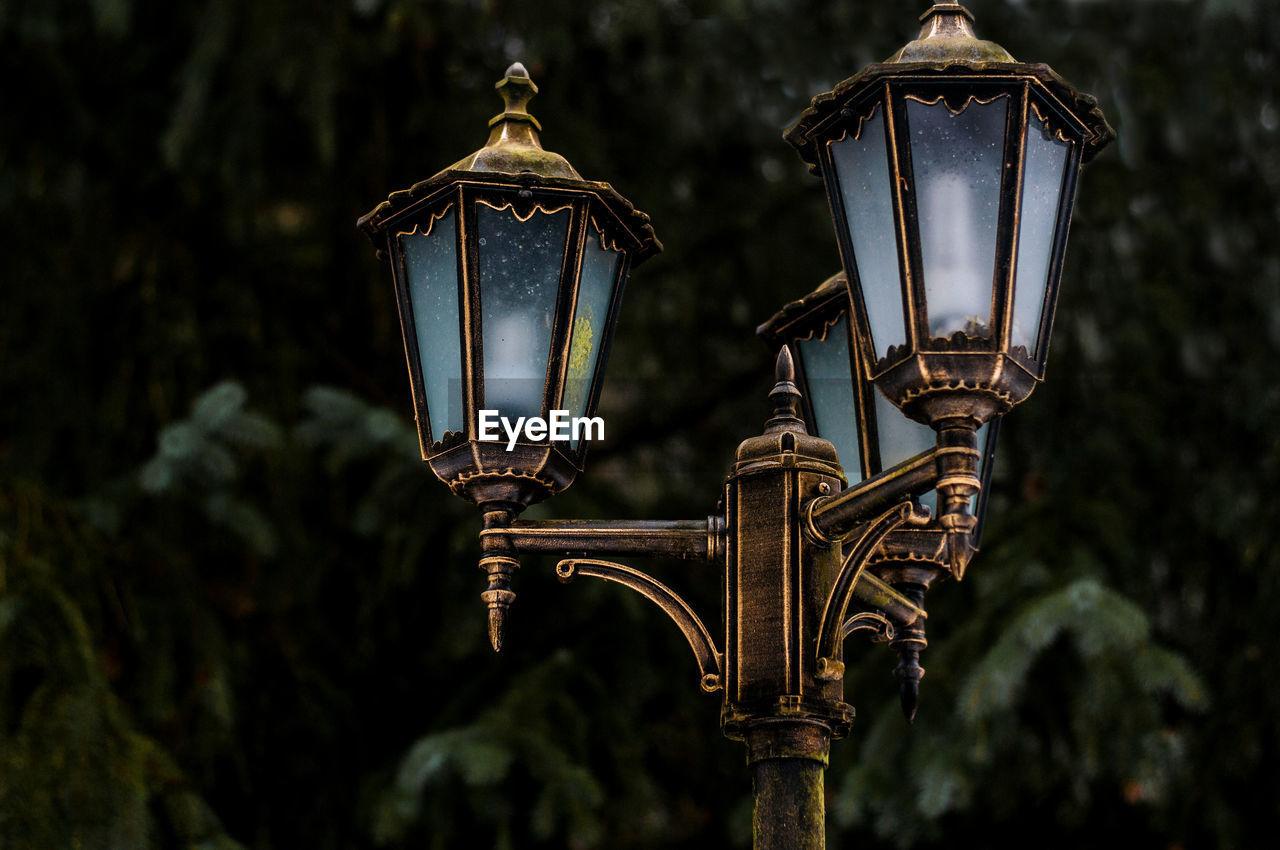 Close-up of retro street lights