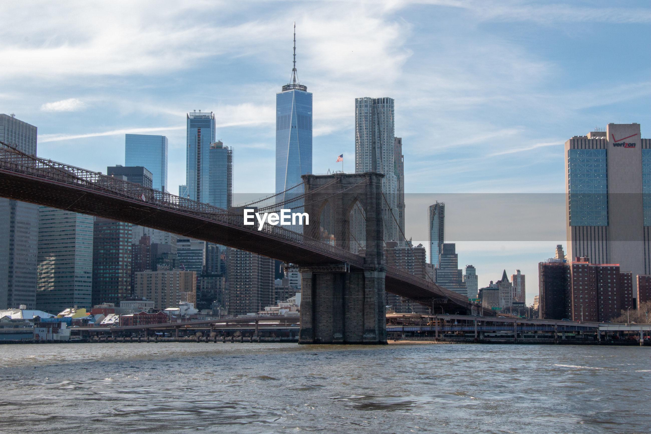 Bridge over river city against sky