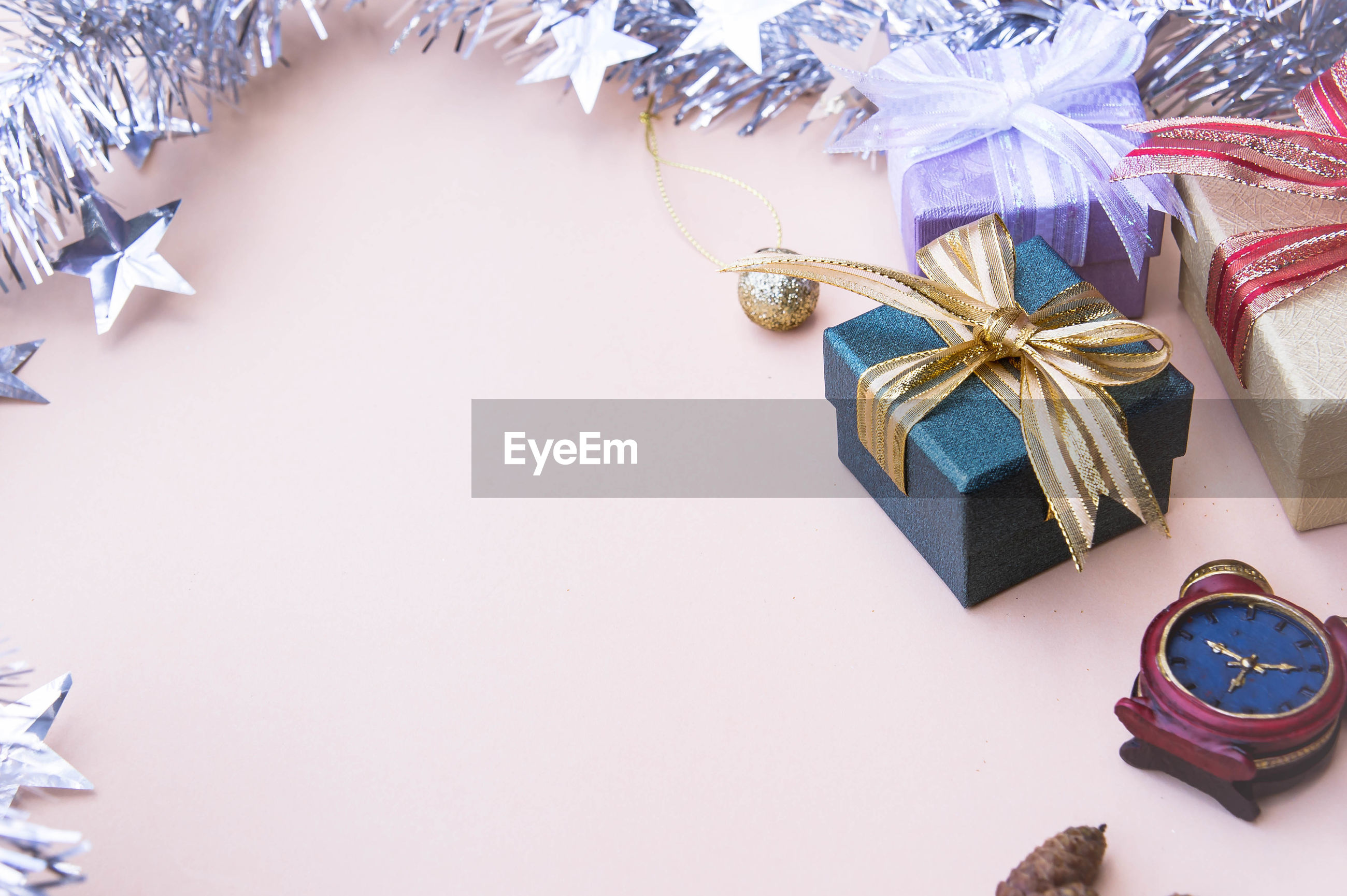 High angle view of christmas decorations and presents on table