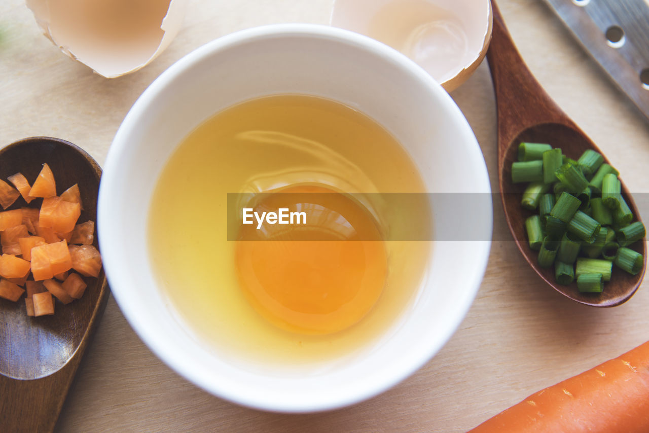 HIGH ANGLE VIEW OF BREAKFAST IN BOWL