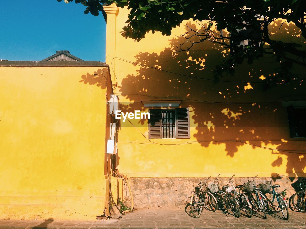 building exterior, architecture, built structure, bicycle, building, nature, sunlight, house, residential district, transportation, day, plant, city, no people, outdoors, tree, sky, shadow, yellow, mode of transportation