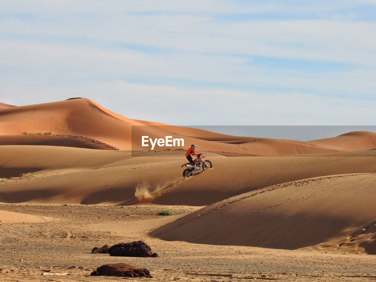 Side View Of Man Bicycling At Desert