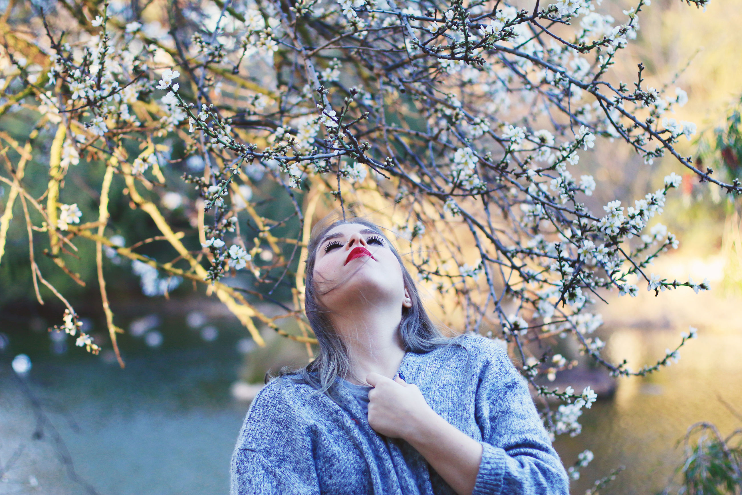 Young woman under blossom tree during winter