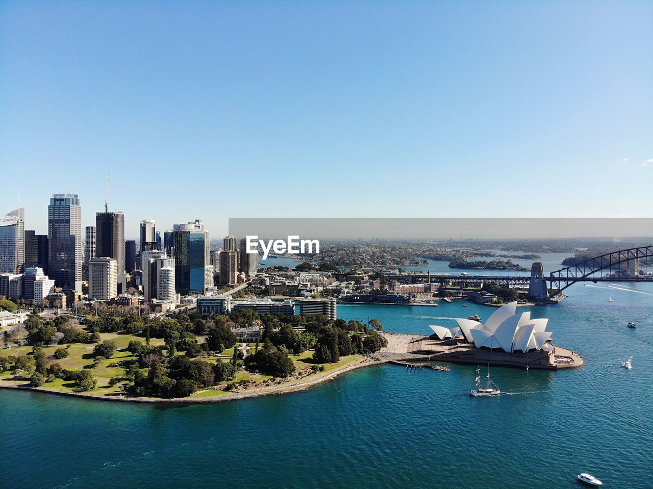 High angle view of sydney opera house against clear blue sky