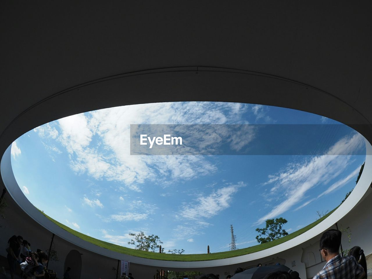 sky, cloud - sky, low angle view, built structure, architecture, day, blue, fish-eye lens, nature, outdoors, building exterior, no people, tree