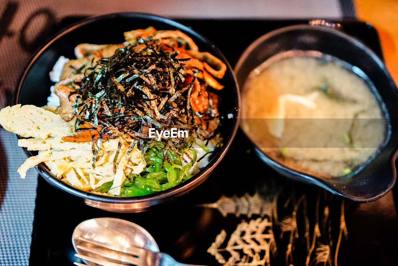 food and drink, food, freshness, healthy eating, ready-to-eat, wellbeing, indoors, bowl, close-up, serving size, table, still life, no people, asian food, selective focus, high angle view, kitchen utensil, meal, vegetable, japanese food, temptation, crockery, serving dish, garnish, dinner