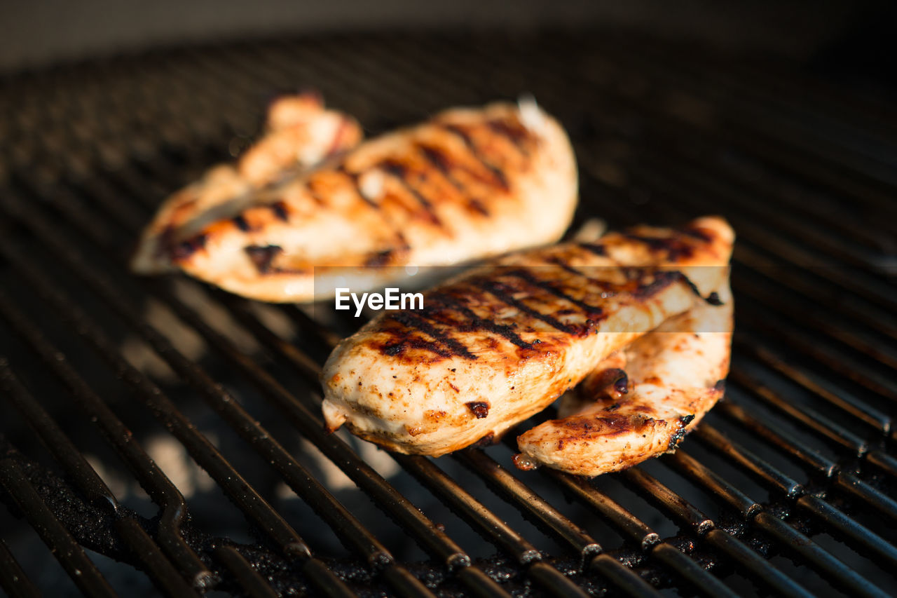 Close-Up Of Chicken On Barbecue