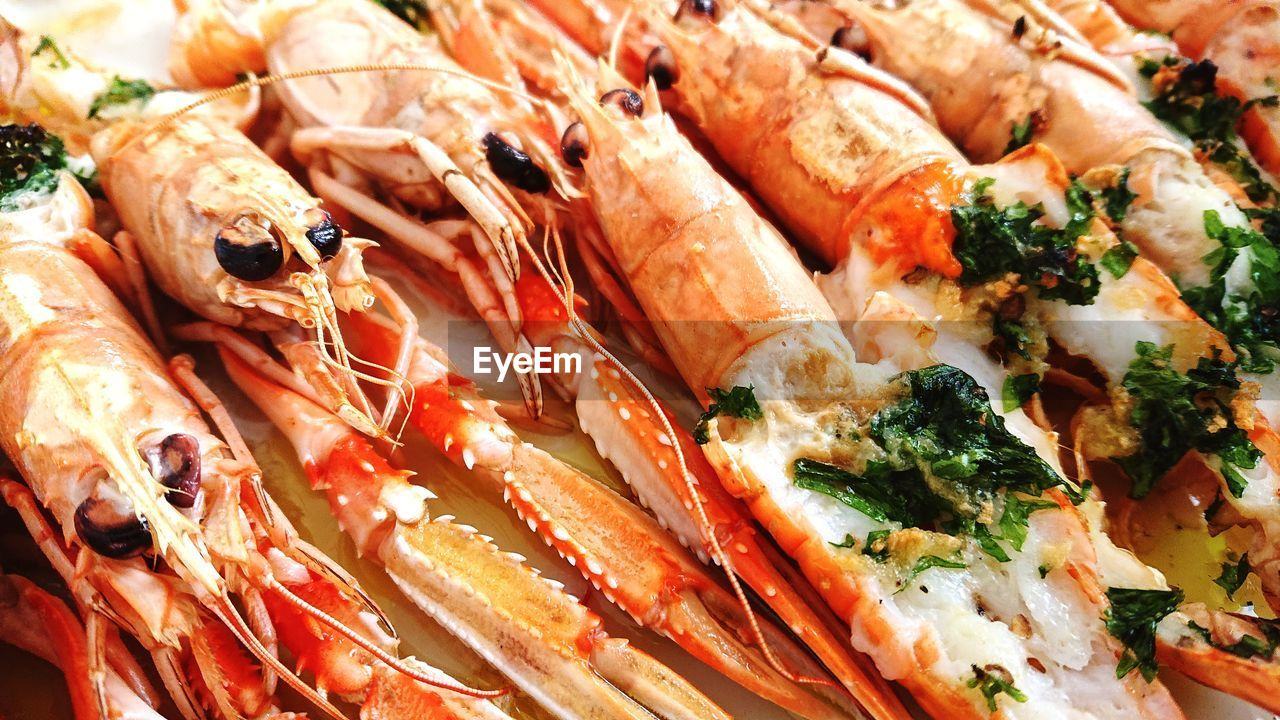 food and drink, food, freshness, ready-to-eat, seafood, wellbeing, still life, healthy eating, close-up, meat, crustacean, serving size, no people, plate, indoors, high angle view, prawn, full frame, indulgence, meal, garnish, temptation, dinner