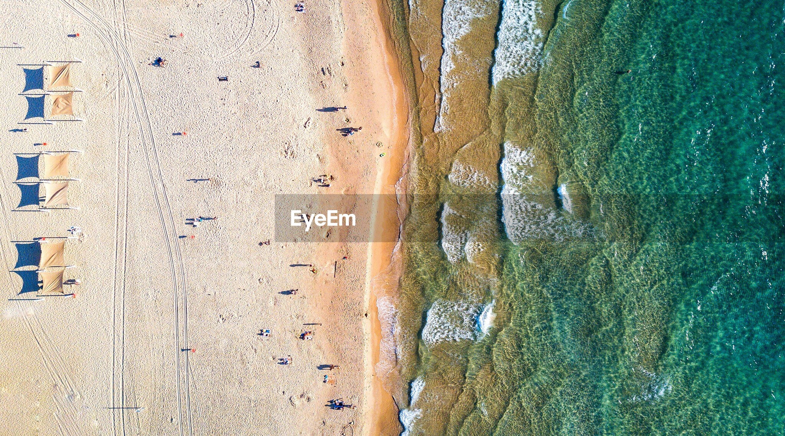 Aerial view of sunny beach