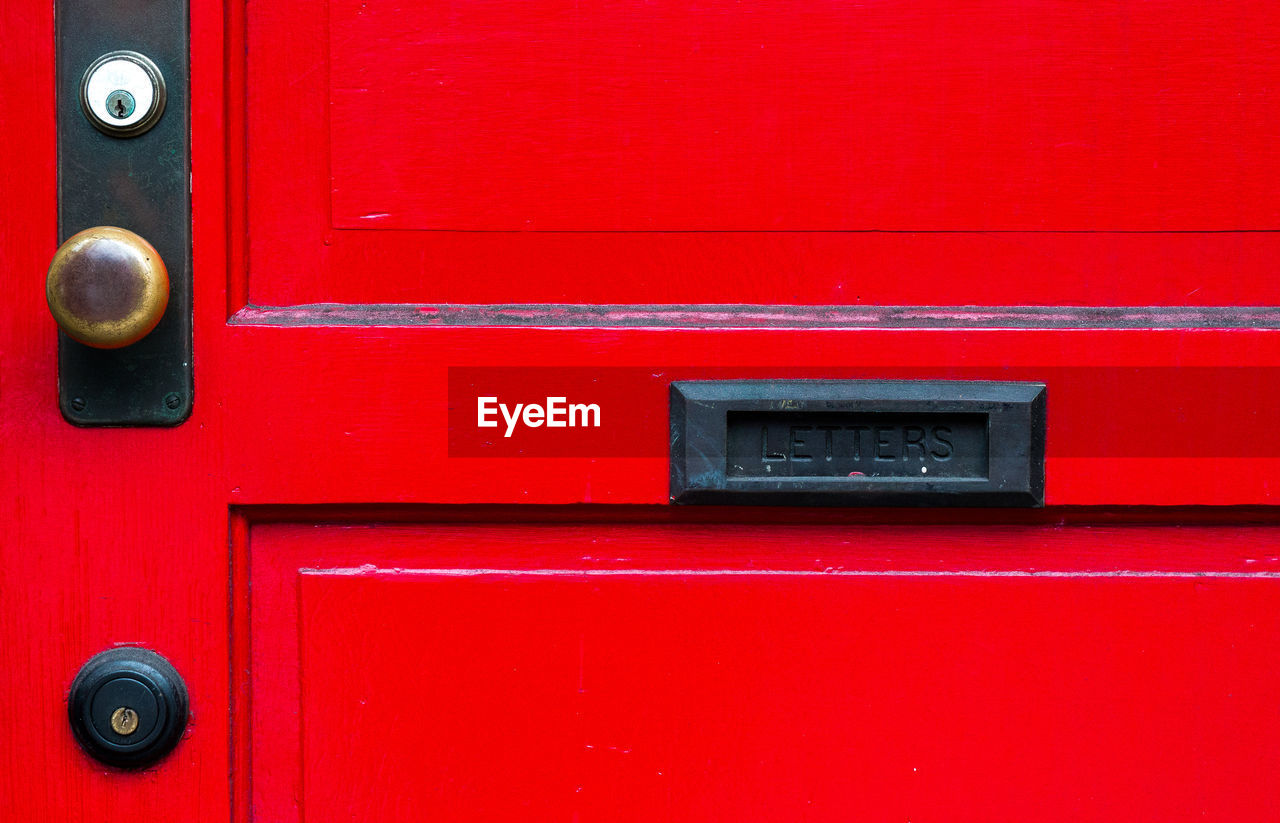 Close-up of red mailbox