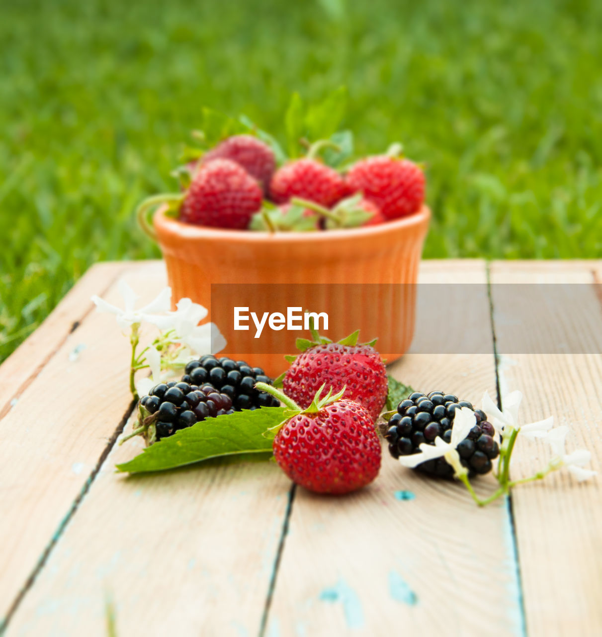 Strawberries and blackberries on wooden table at lawn