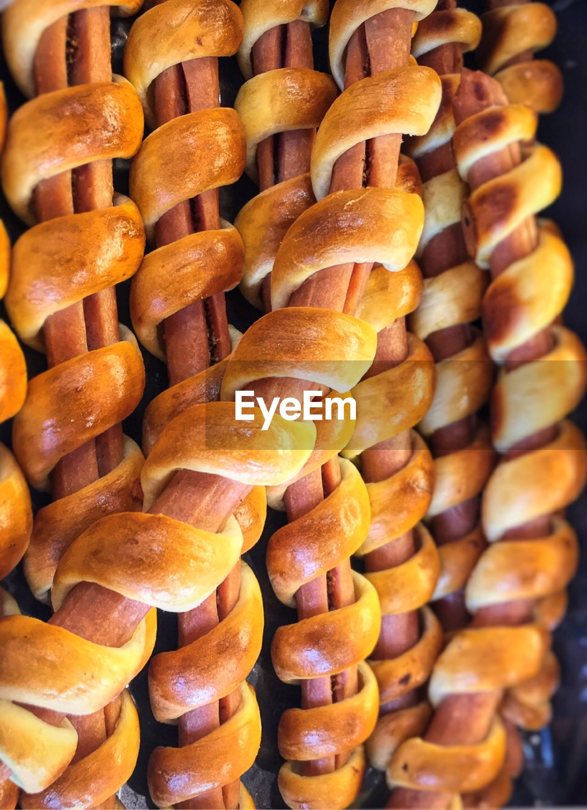 Close-up of bread with sausages