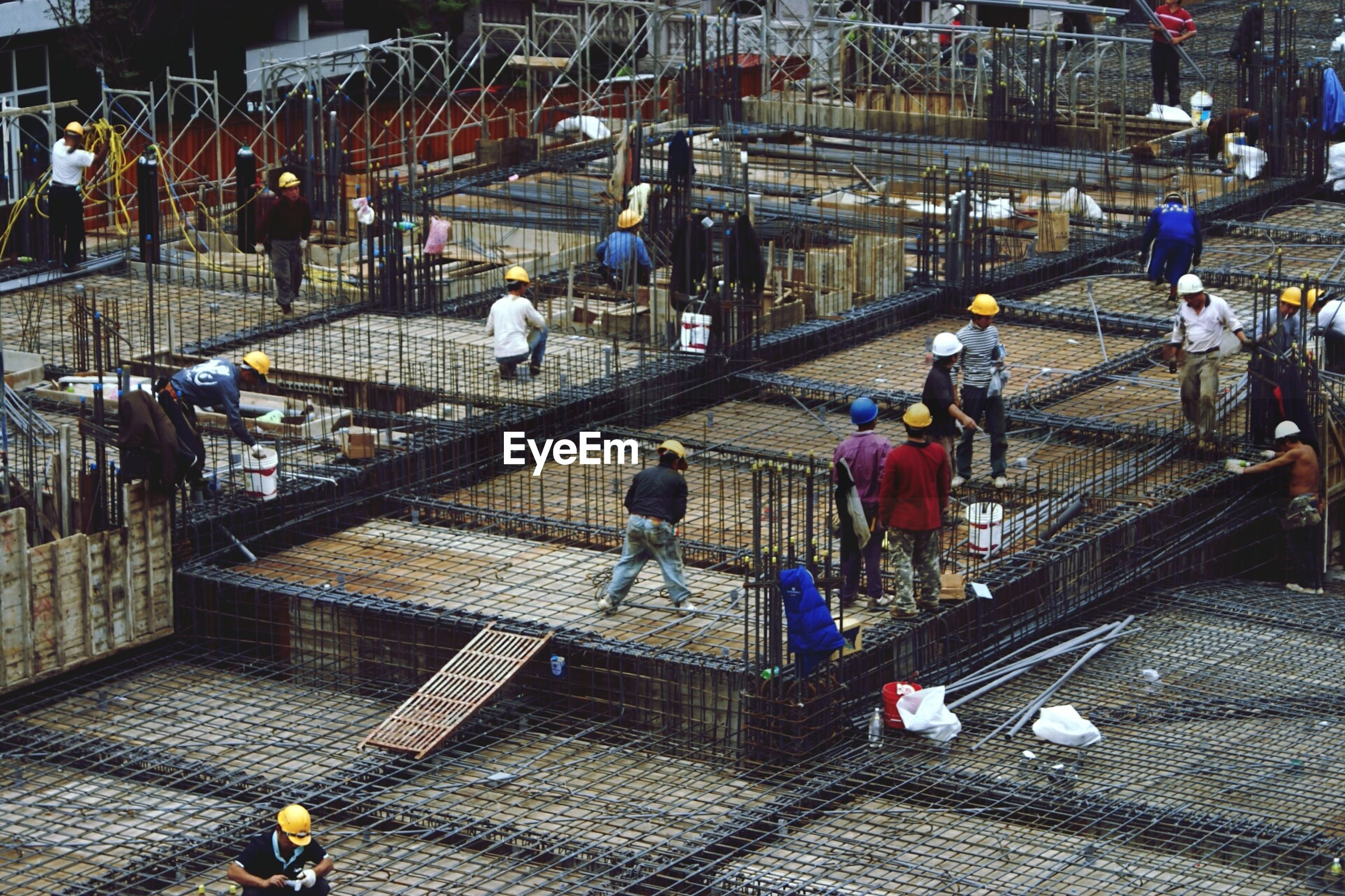 High angle view of workers at construction site