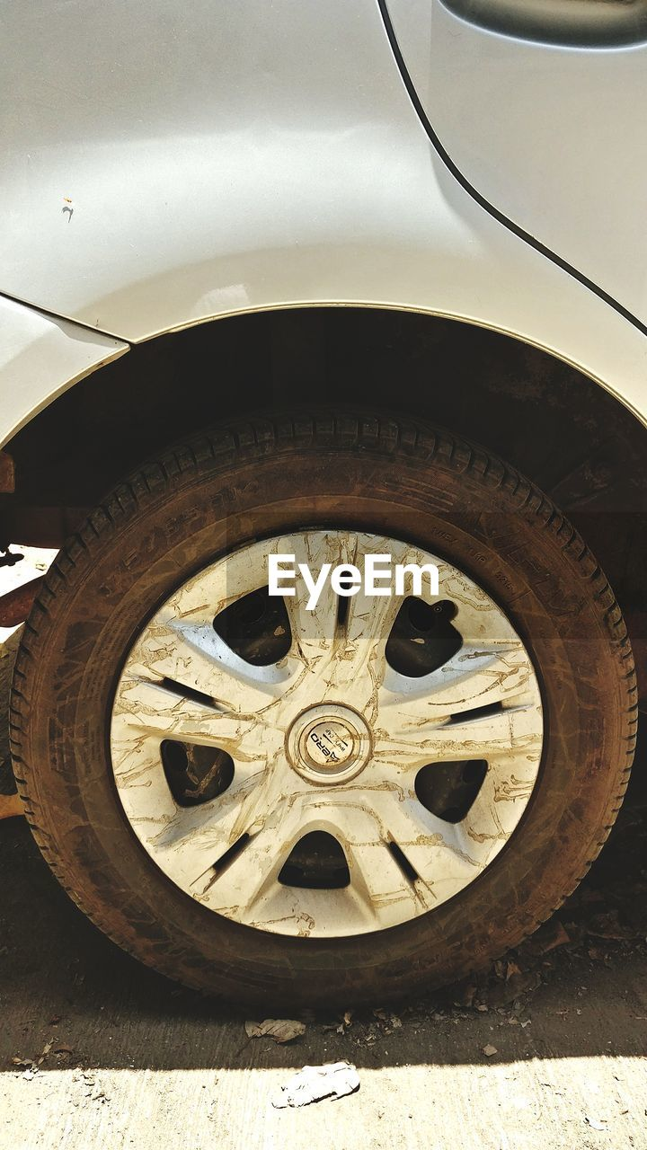 tire, wheel, transportation, day, land vehicle, outdoors, no people, stationary, close-up