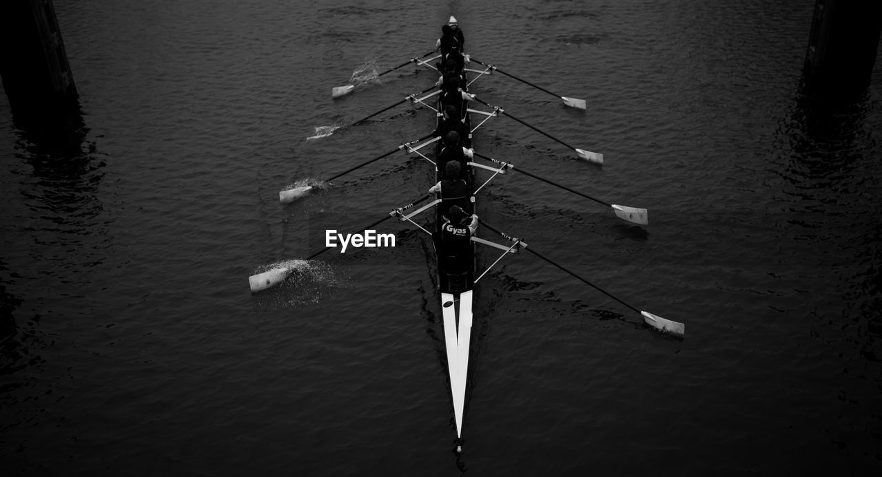 nautical vessel, water, transportation, teamwork, mode of transport, day, outdoors, rowing, high angle view, sport rowing, sculling, oar, strength, competition, coordination, scull, no people, nature