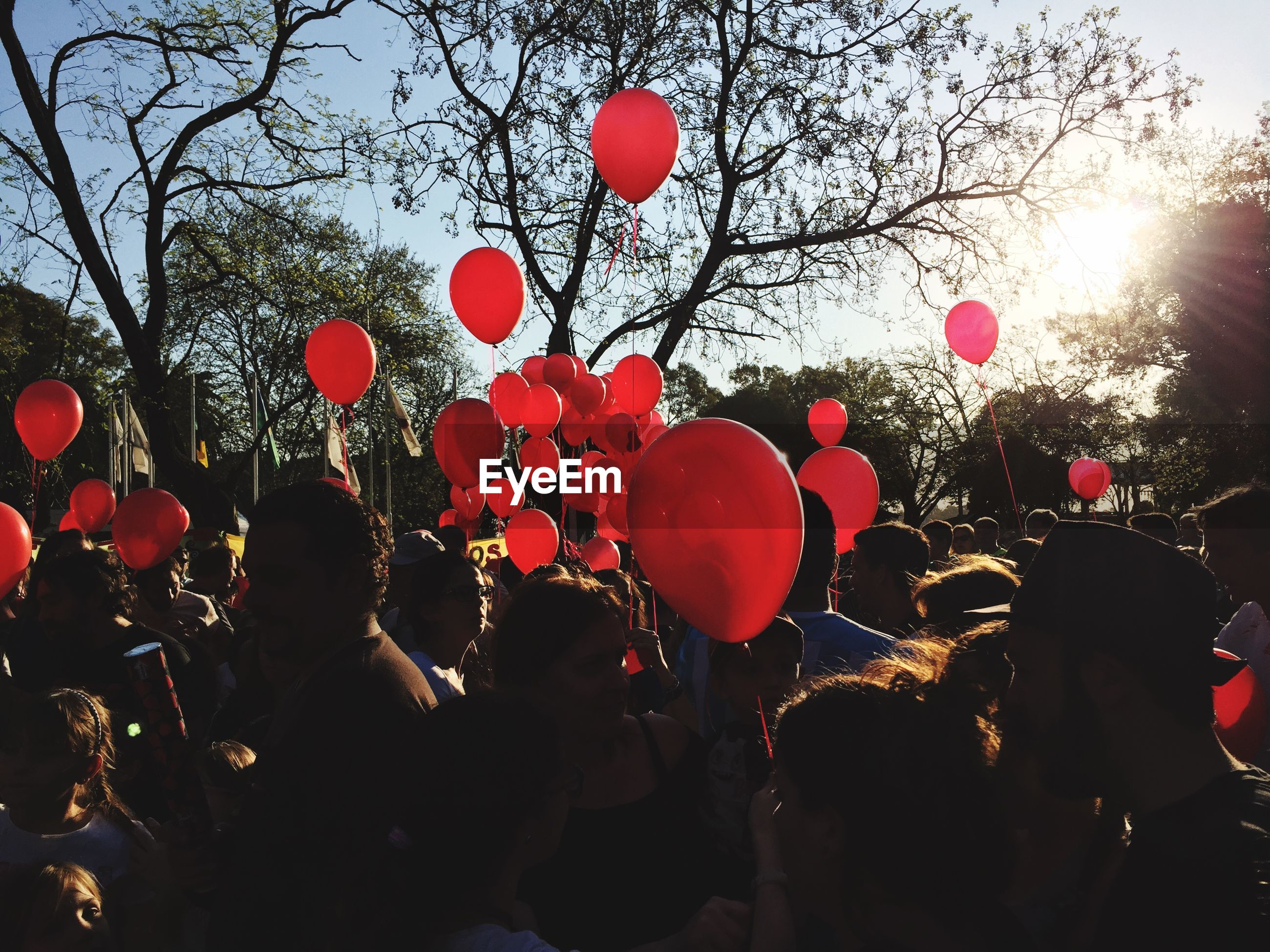 Crowd with red balloon against trees