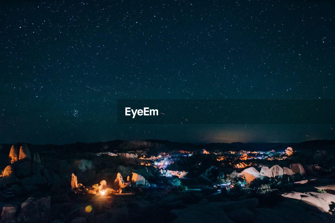 night, no people, nature, outdoors, sky, illuminated, beauty in nature, scenics, mountain, bonfire, astronomy