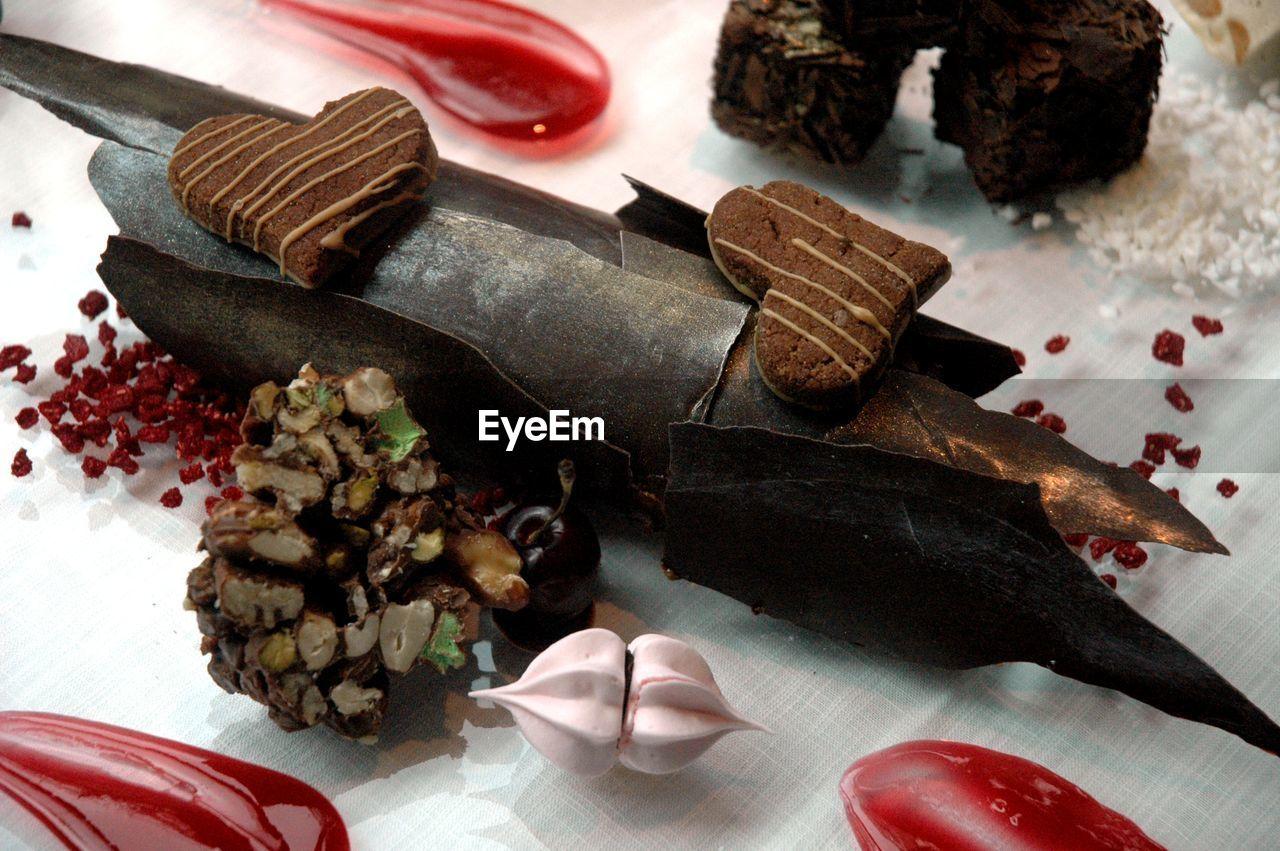 High Angle View Of Chocolate Dessert On Table