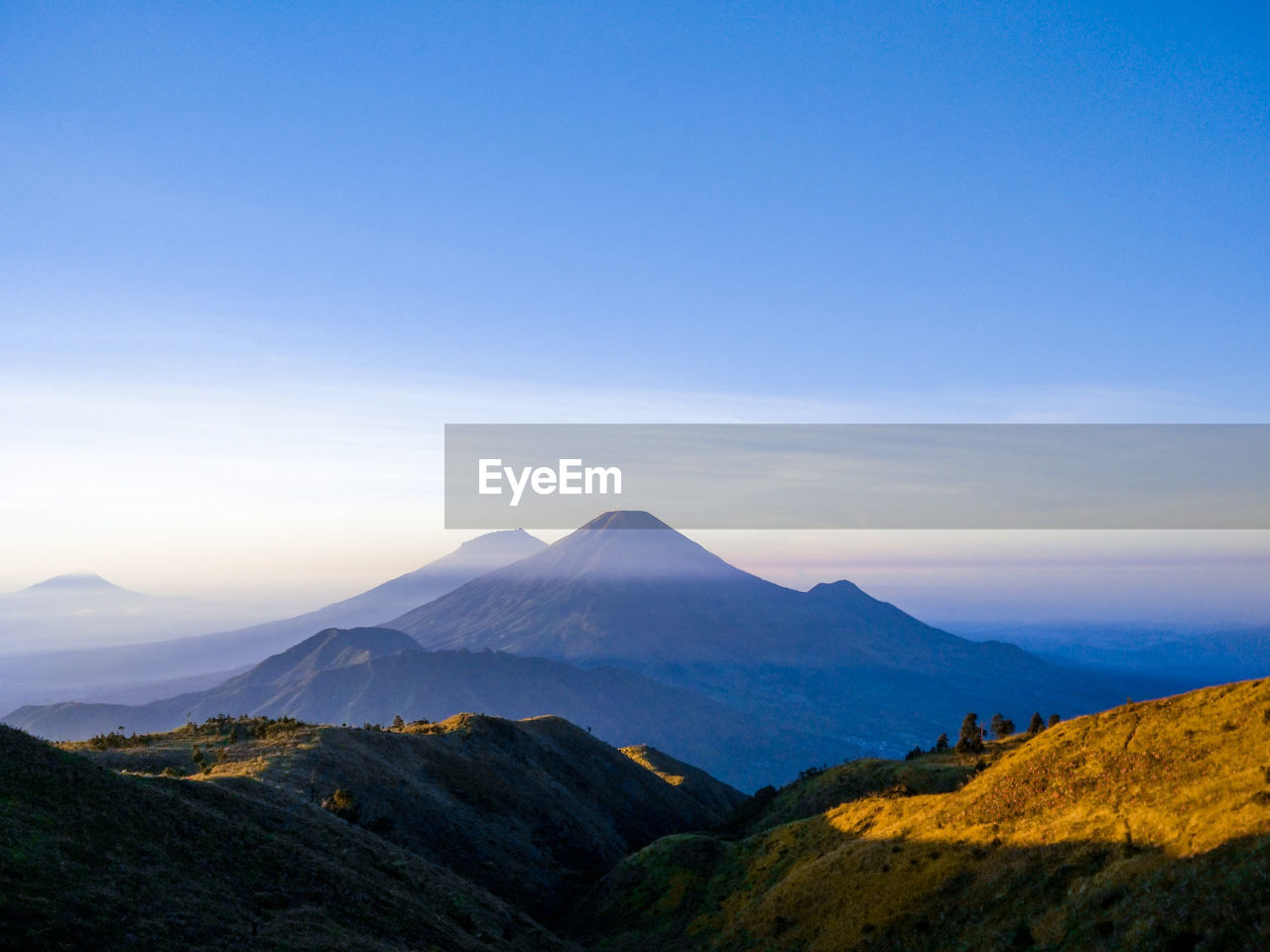 Sinoro sumbing can be seen from the top of mount prau wonosobo, dieng, central java