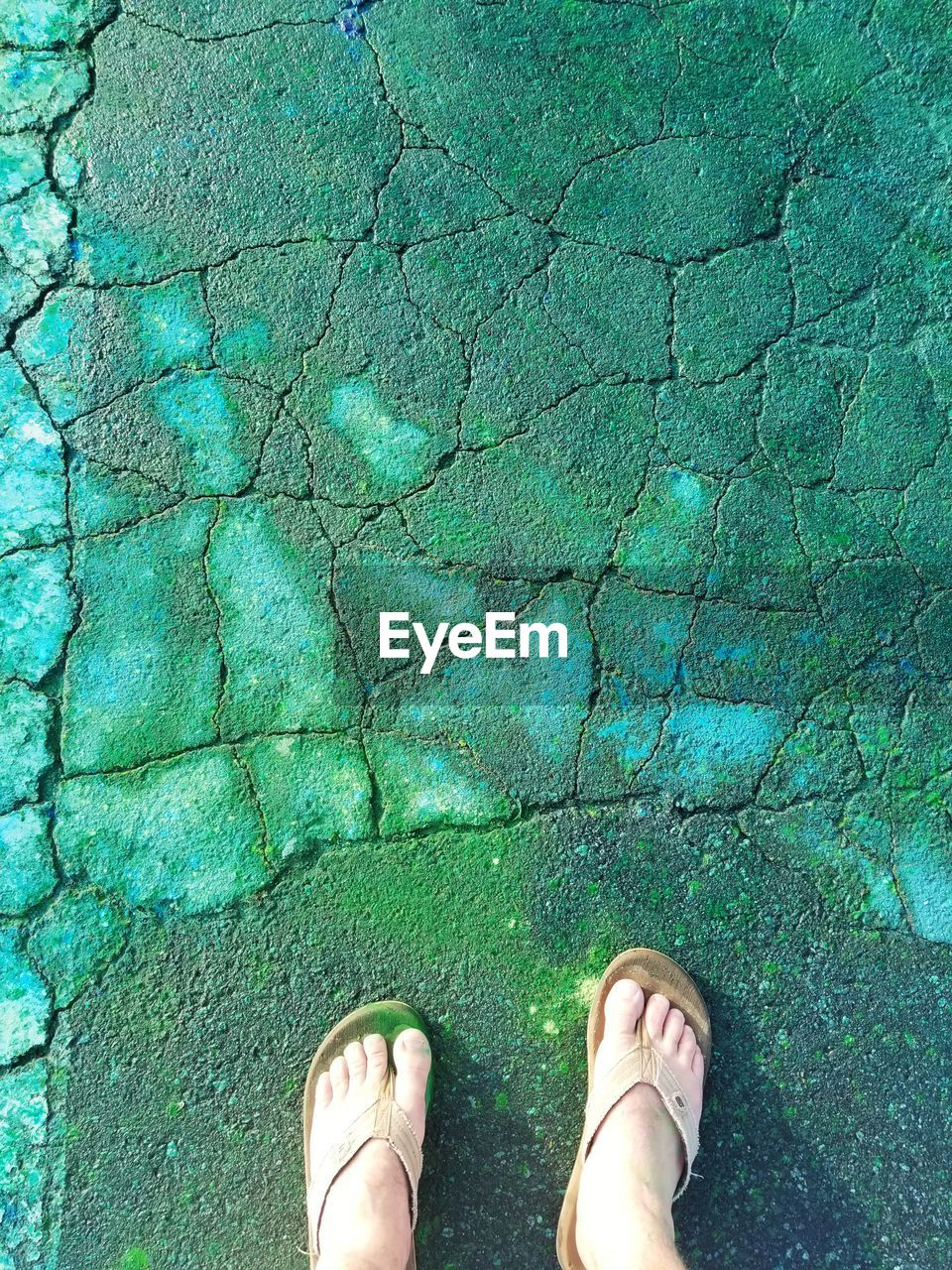 low section, one person, human leg, personal perspective, body part, human body part, real people, standing, human foot, lifestyles, shoe, day, women, high angle view, water, green color, directly above, leisure activity, outdoors, turquoise colored, swimming pool, human limb, shallow