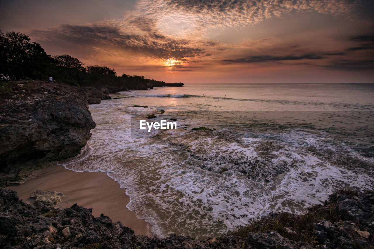 sea, water, sunset, sky, beauty in nature, scenics - nature, beach, cloud - sky, land, tranquility, motion, horizon over water, idyllic, orange color, tranquil scene, nature, horizon, no people, rock, outdoors, rocky coastline