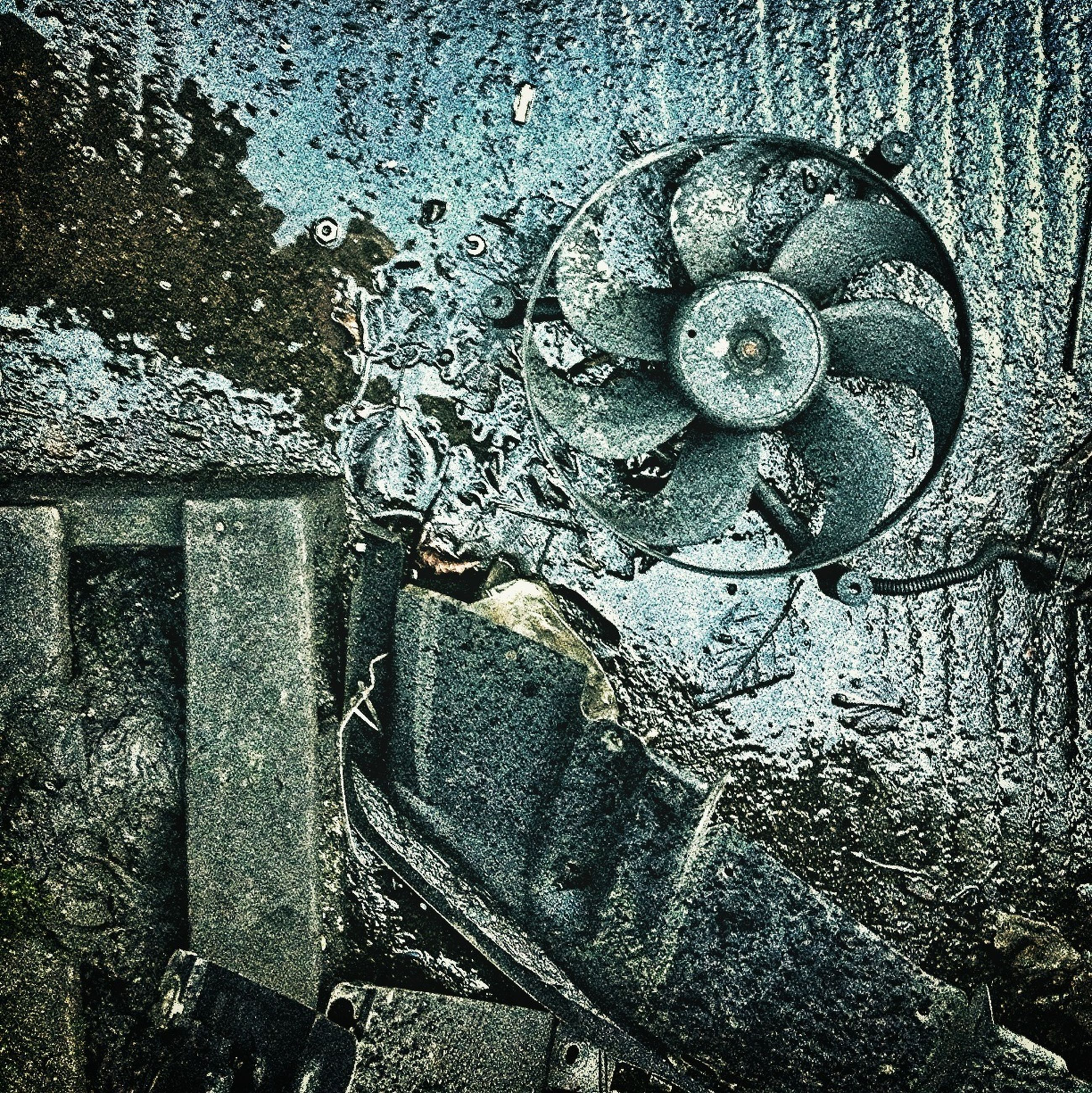 full frame, backgrounds, water, high angle view, close-up, pattern, wet, metal, indoors, textured, old, design, drop, wall - building feature, metallic, built structure, day, no people, rusty