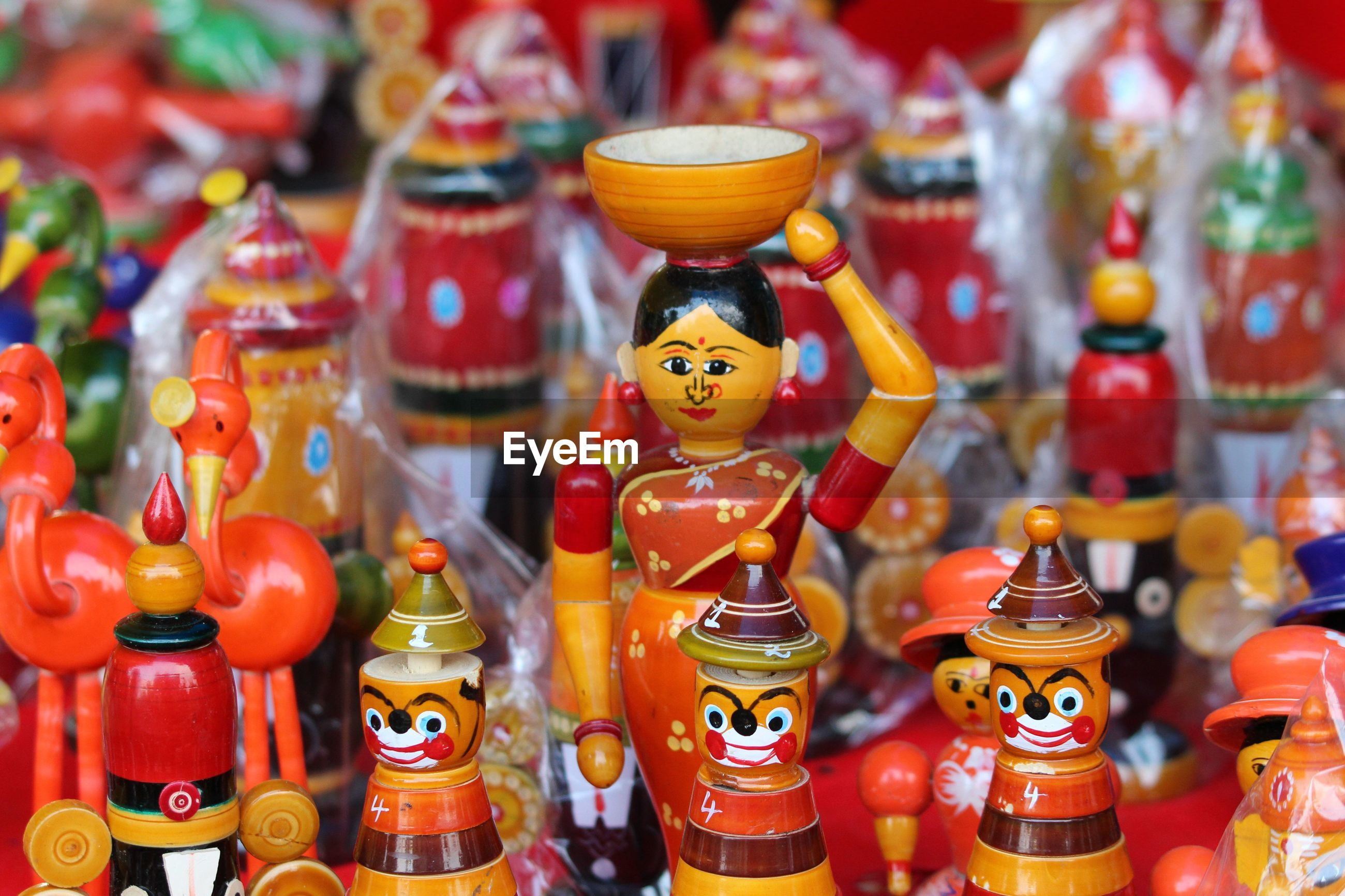 Close-up of toys for sale in market