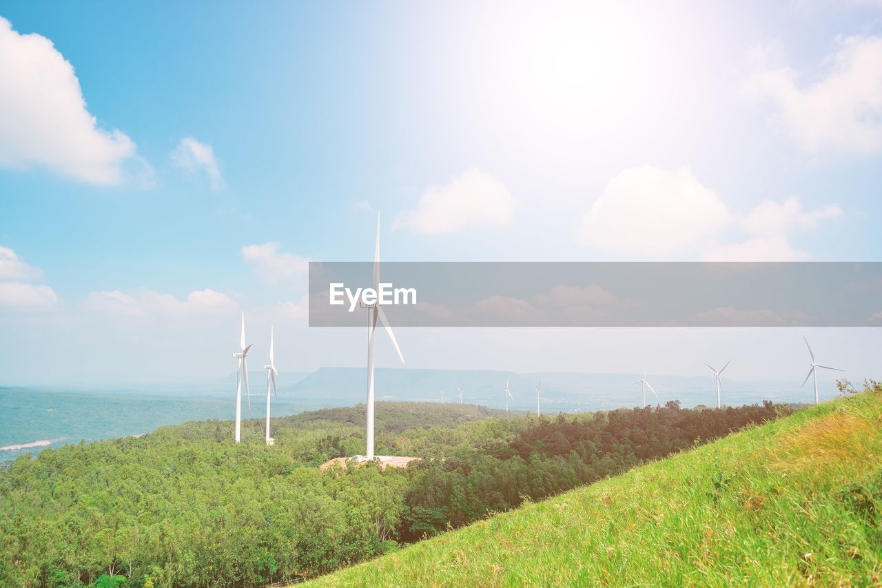 sky, land, environment, grass, cloud - sky, nature, turbine, plant, environmental conservation, renewable energy, landscape, water, scenics - nature, day, beauty in nature, alternative energy, wind turbine, fuel and power generation, field, no people, outdoors, horizon over water, bright, sustainable resources