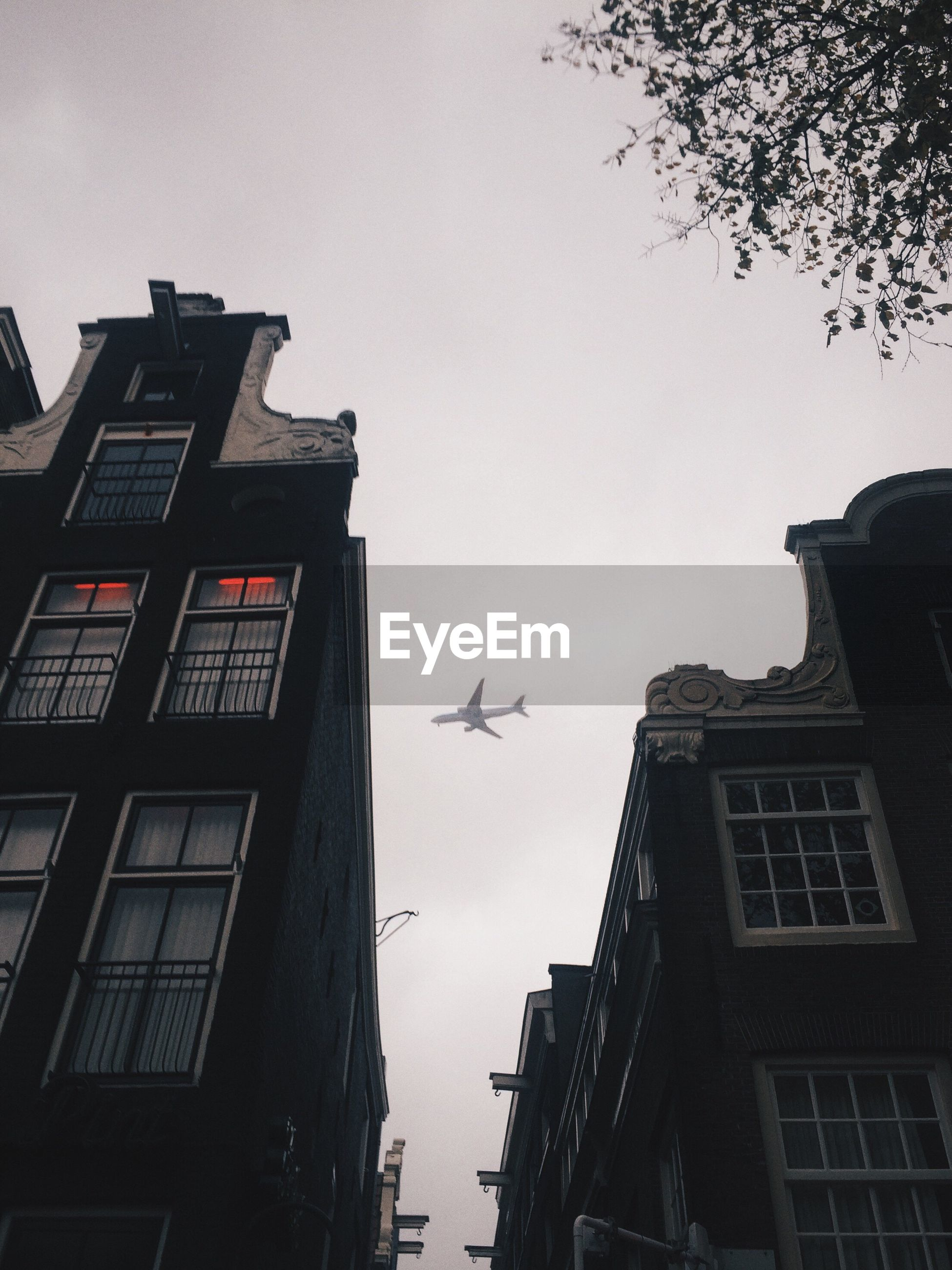 LOW ANGLE VIEW OF AIRPLANE FLYING ABOVE BUILDINGS