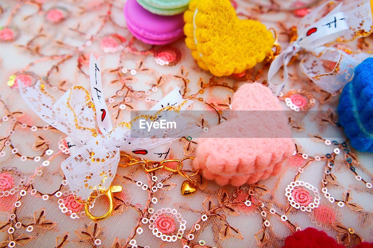 Close-up of colorful decorations