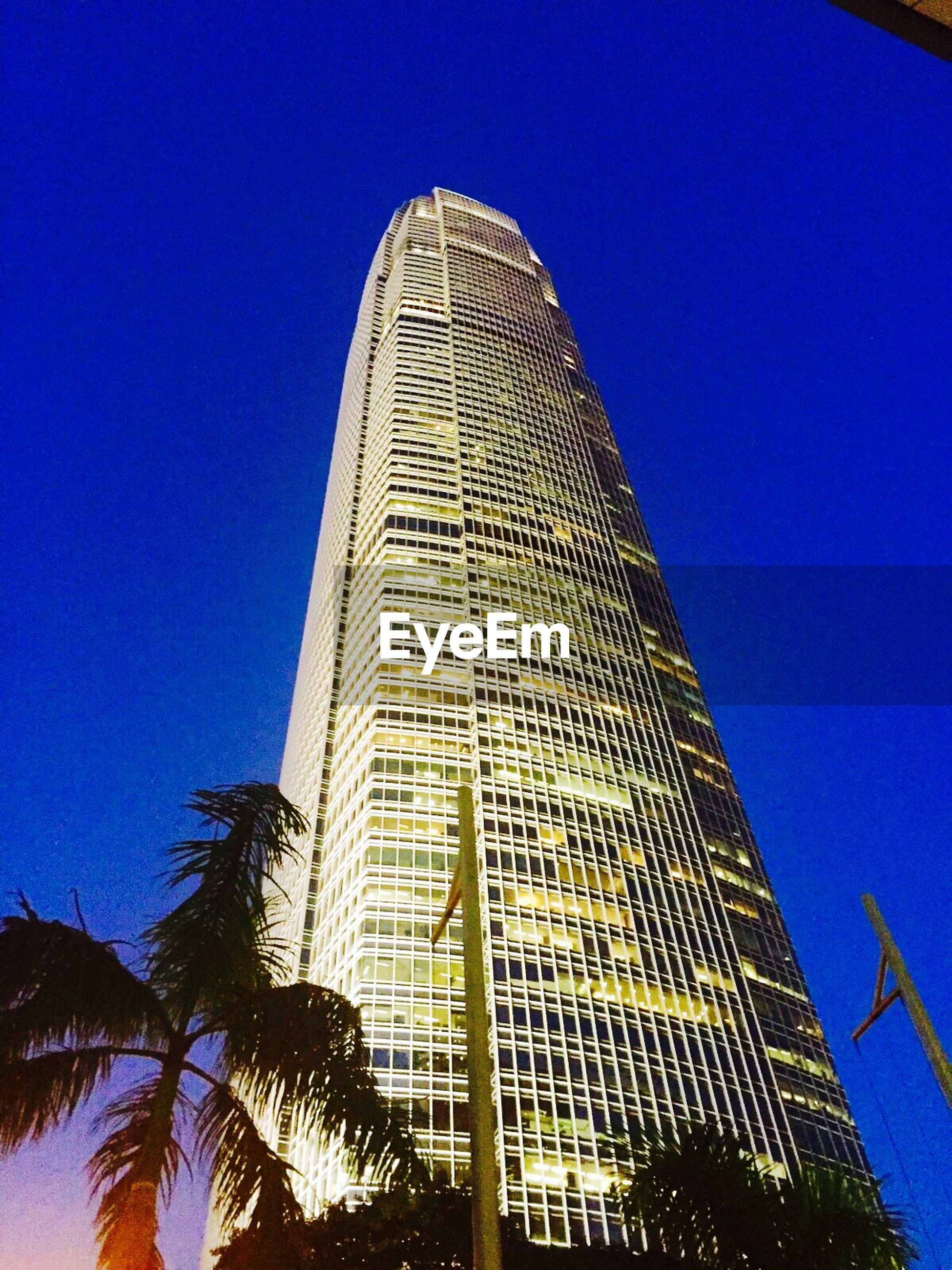 blue, low angle view, architecture, built structure, clear sky, building exterior, tall - high, tower, tree, modern, city, tall, building, skyscraper, office building, outdoors, no people, reflection, growth, sunlight