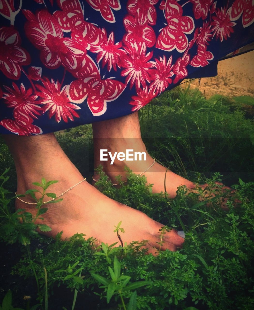 real people, plant, one person, women, body part, human body part, low section, flower, flowering plant, day, nature, lifestyles, grass, field, leisure activity, human leg, adult, standing, high angle view, floral pattern, outdoors, hand, flower head, human limb