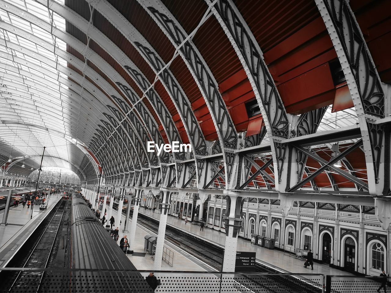 transportation, architecture, built structure, rail transportation, railroad track, railroad station, public transportation, connection, modern, train - vehicle, bridge - man made structure, station, indoors, no people, day