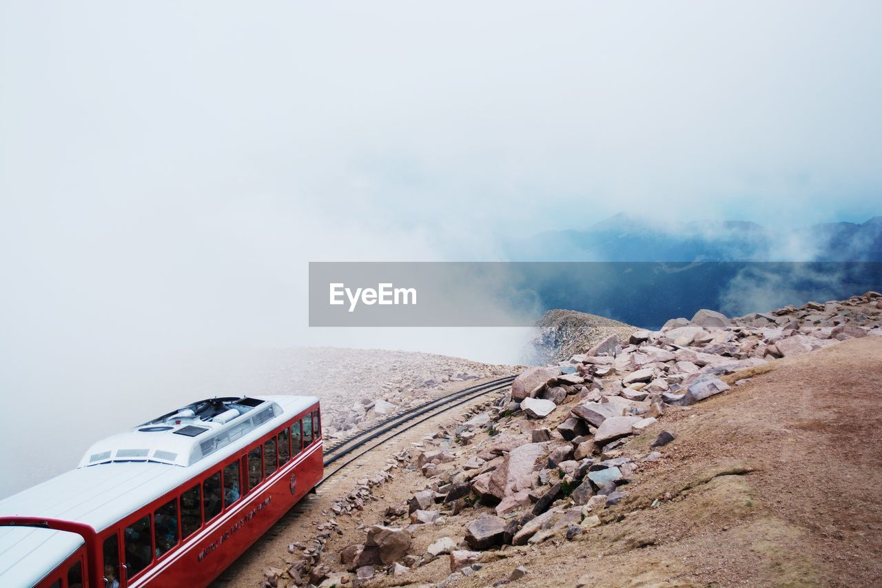 High Angle View Of Train On Mountain At Pikes Peak National Forest