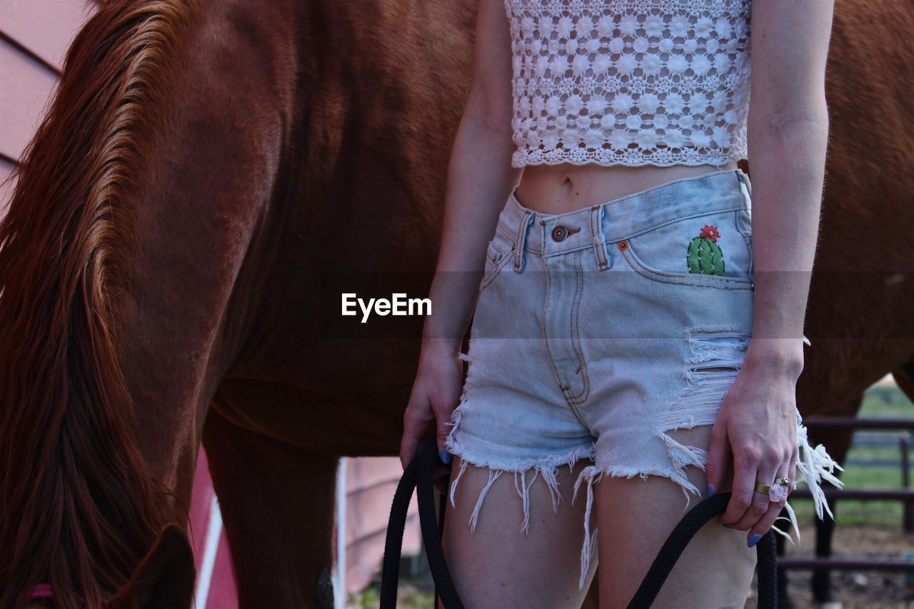 Midsection of young woman standing by horse at barn