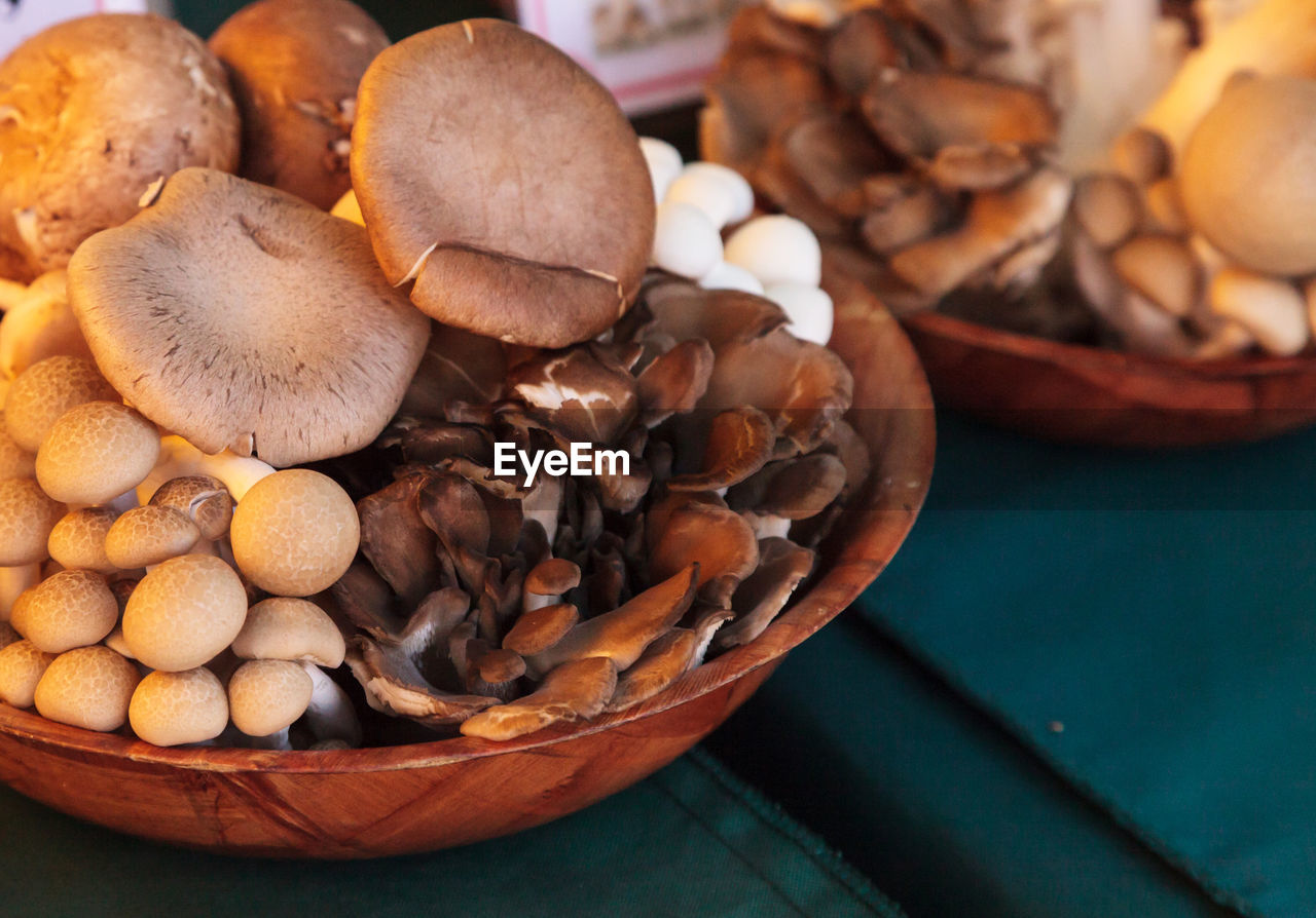 Close-Up Of Fresh Mushrooms In Container