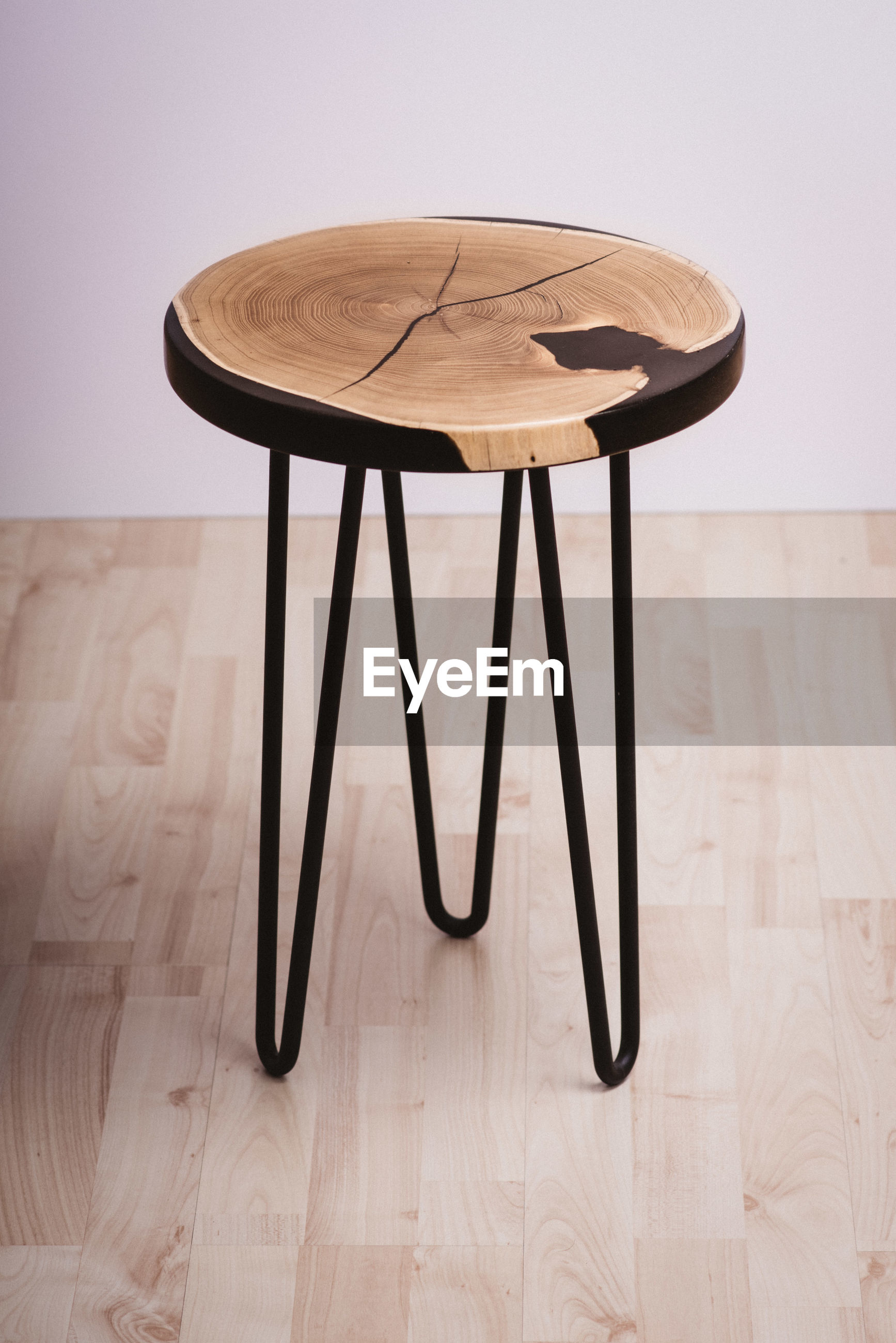 High angle view of table on hardwood floor