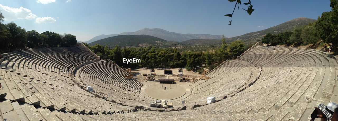 Panoramic view of amphitheater against sky