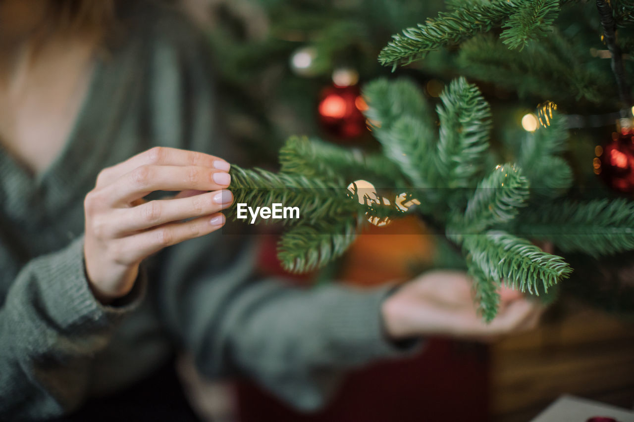 MIDSECTION OF WOMAN HOLDING CHRISTMAS TREE AT PLANT