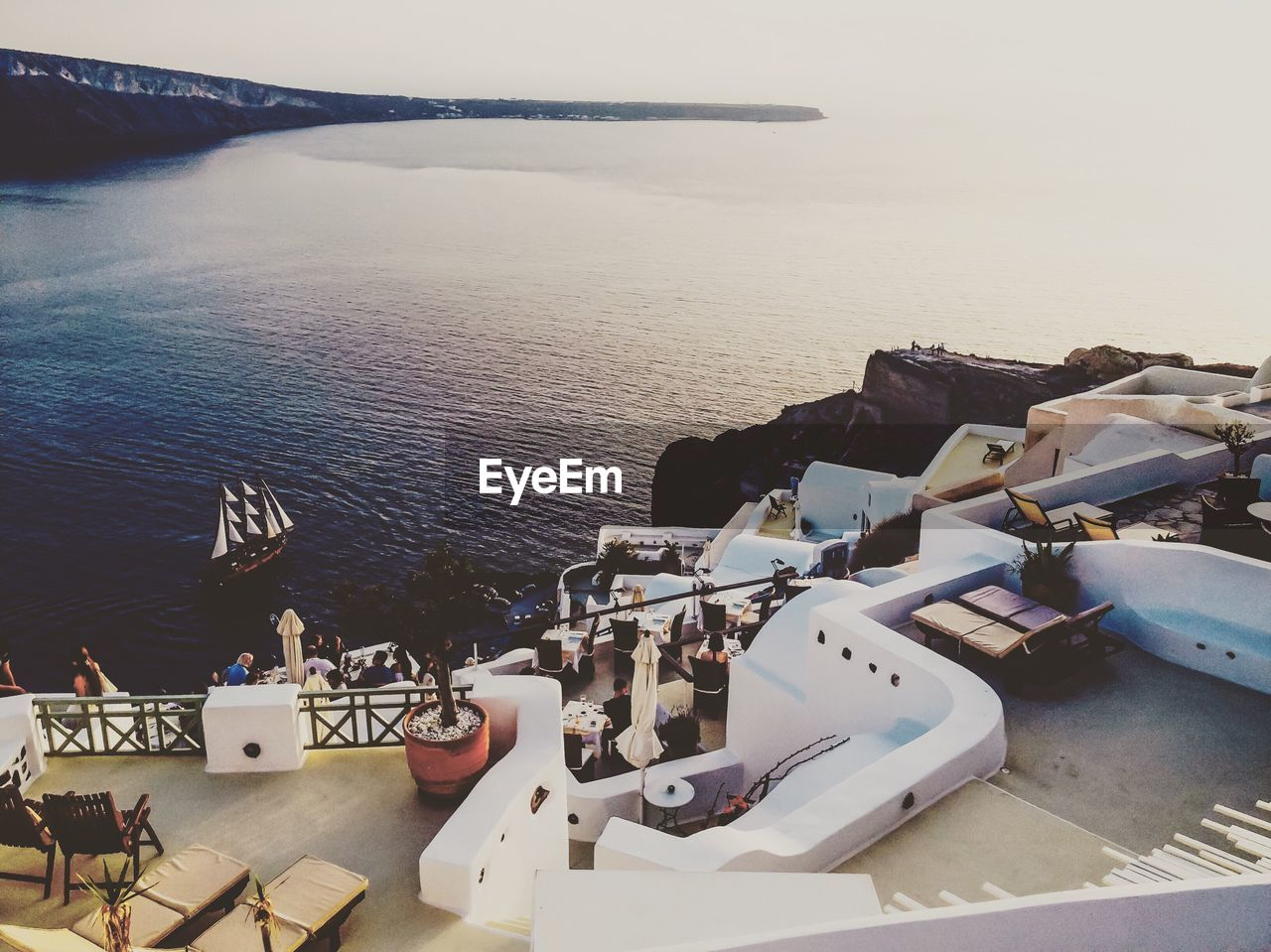 sea, water, nautical vessel, high angle view, outdoors, no people, horizon over water, nature, harbor, day, moored, sky, weapon