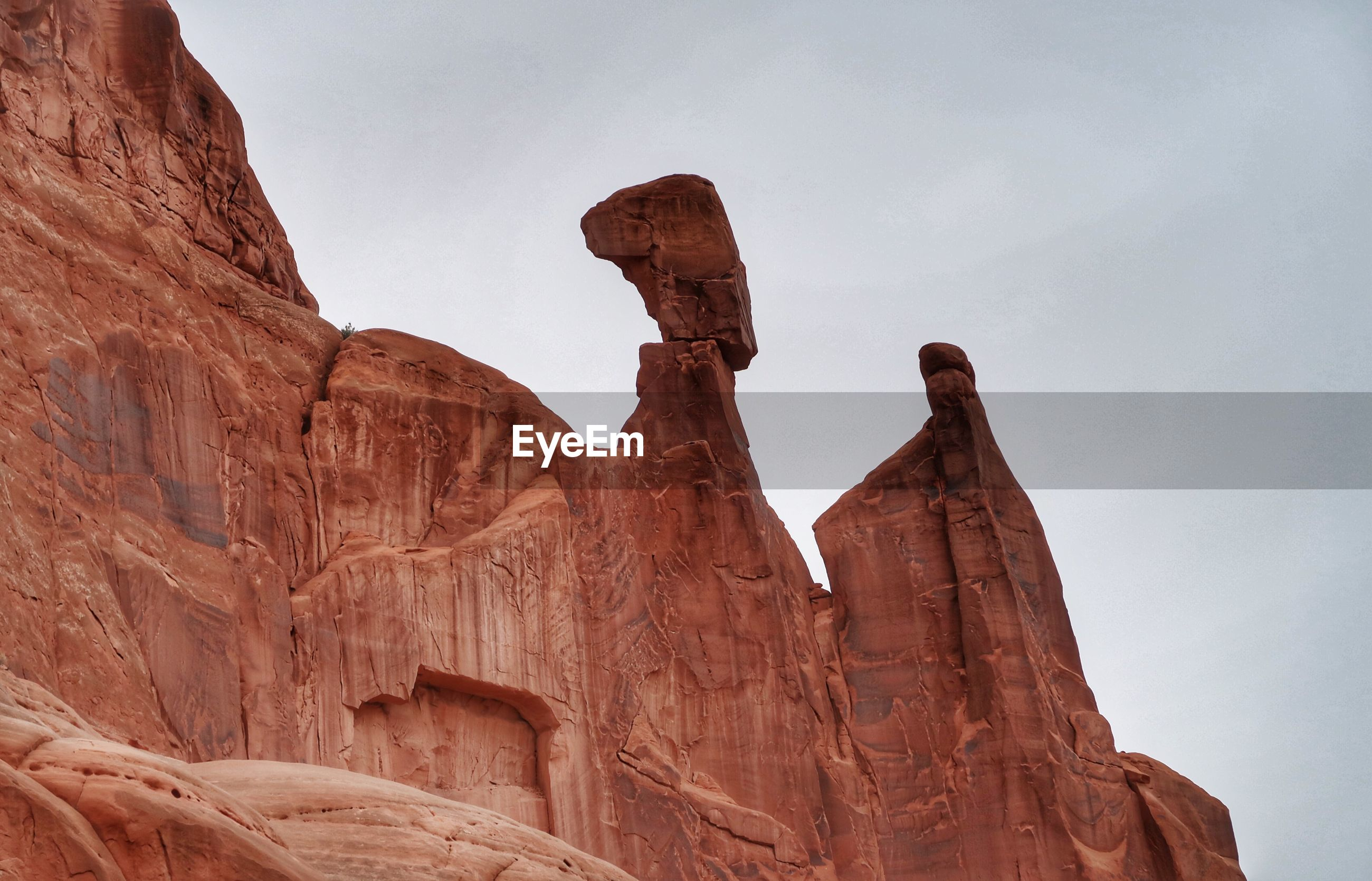 Close up of tall sandstone formations in utah