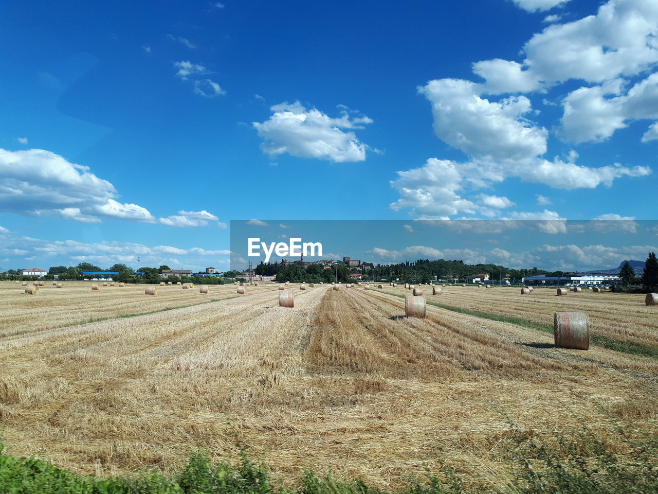 field, agriculture, landscape, tranquil scene, rural scene, tranquility, sky, bale, cloud - sky, day, nature, beauty in nature, blue, outdoors, scenics, no people, hay bale, grass, tree