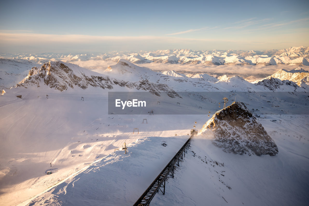 Aerial View Of Snow Covered Landscape Against Sky