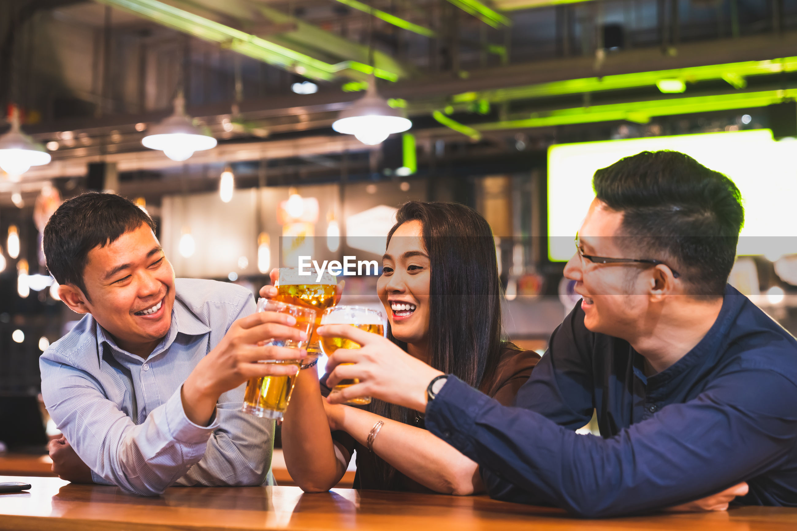 Friends toasting beer glasses while sitting in bar