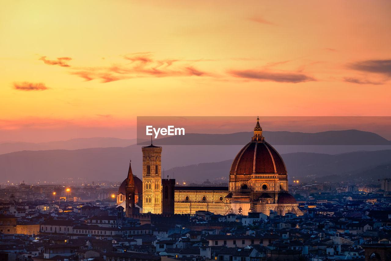 Duomo Santa Maria Del Fiore In City During Sunset