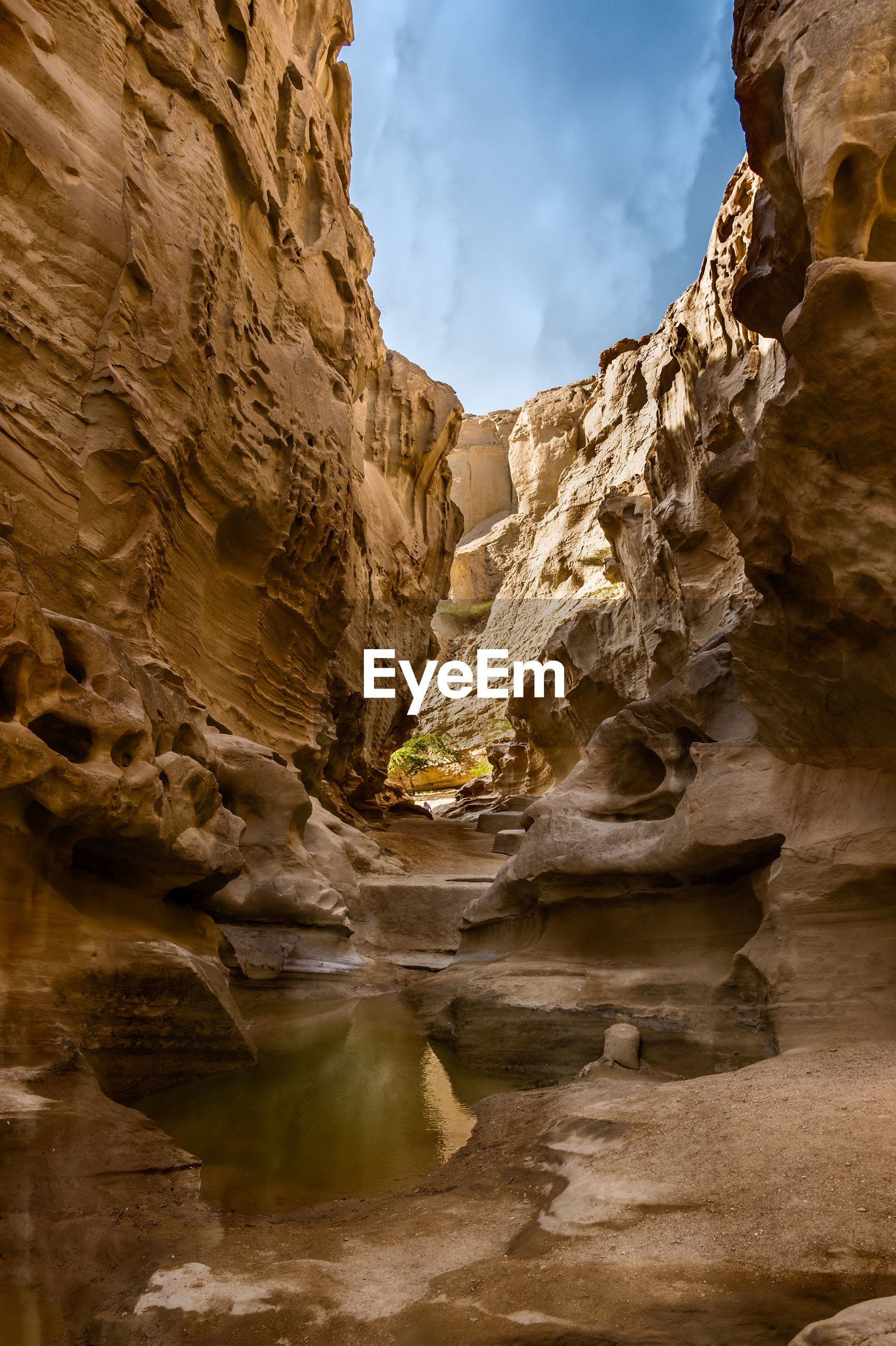 Low angle view of rock formations at qeshm